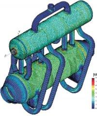Распределение напряжений в трубопроводе высокого давления, полученное с помощью программы Рампа