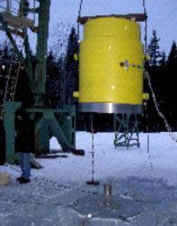 Рис.3. Падение натурной модели ТУК-128 (ТУК-128/1) крышкой на стальной штырь (требование Правил МАГАТЭ)