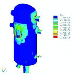 Распределение приведенных напряжений в ПНД-3 от воздействия внутреннего  давления.